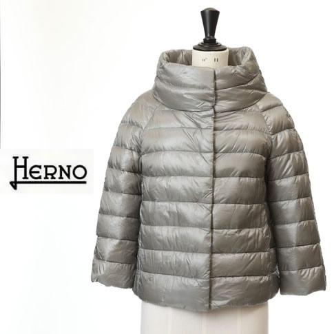 HERNO / ヘルノ レディース ダウンジャケット ボトルネック 七分袖ショートダウンジャケット シルバーグレー PI0046DIC-12017-9420