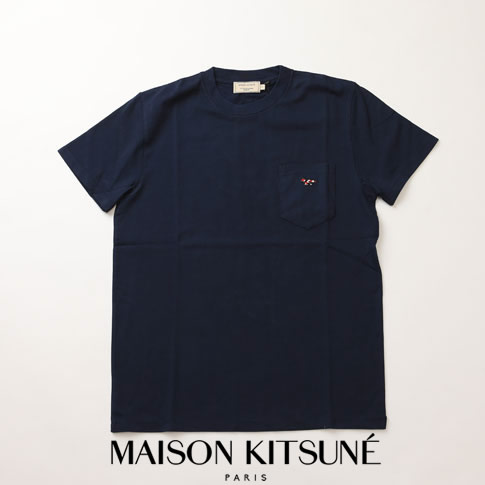 【20%OFF還元中】MAIZON KITSUNE メゾンキツネ Tシャツ ヘビーオンス Tシャツ キツネ刺繍 ネイビー 全3色 am00114-at1515-na
