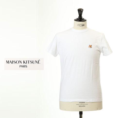 MAISON KITSUNE メゾンキツネ 半袖 Tシャツ キツネ 刺繍 ホワイト am0103kj-0008-wt