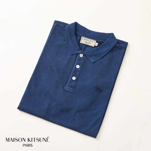【20%OFF還元中】MAISON KITSUNE メゾンキツネ 定番 鹿の子 半袖 ポロシャツ ブルー am0202at-1512-bl