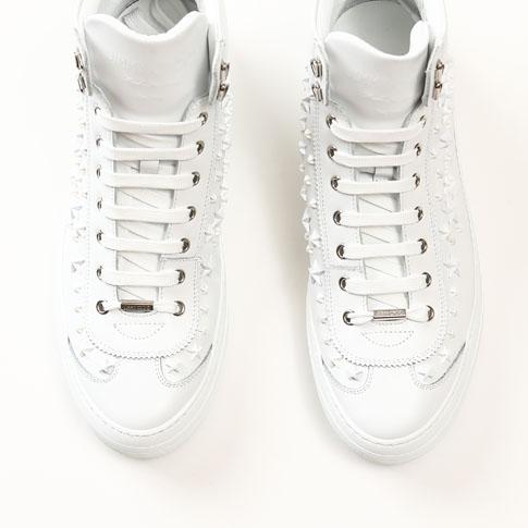 カーフレザー・ハイカット OMX 164 argyle-omx-ultra-wt Mix ジミーチュウ ホワイト スタースタッズ付 JIMMY CHOO ARGYLE 【スーパーセール開催!】 Ultra White SPORT スニーカー アーガイル