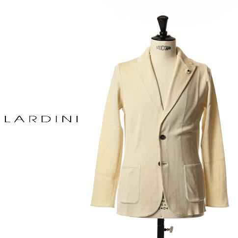 【価格見直しました】ラルディーニ LARDINI ラルディーニ ジャケット コットン ニットジャケット ピークドラペル コットン ジャージージャケット ホワイト eeljm20-100