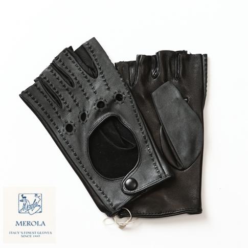 MEROLA / メローラ ラムナッパ カットオフフィンガータイプ ドライビンググローブ ハンドメイド手袋 Amalfi別注モデル ブラックxダークグレー ME829001-90