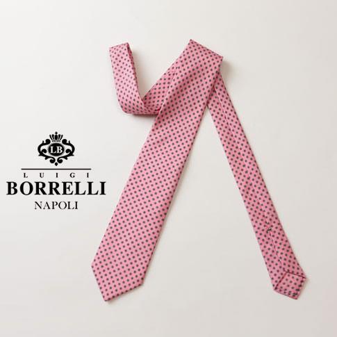 BORRELLI ルイジ ボレッリ ネクタイ ピンク 花柄 シルク100% nr85-t4562-8