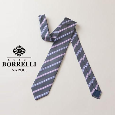 BORRELLI ルイジ ボレッリ ネクタイ ストライプ柄 ブルーグレー系 シルク100% nr85-t4794-10