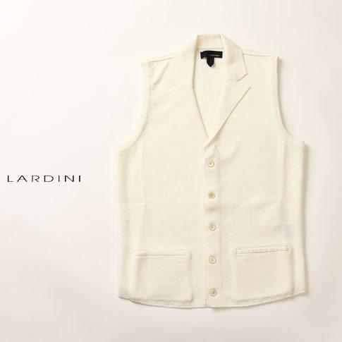 【価格見直しました】LARDINI ベスト ラルディーニ ニットベスト コットン100% ジレ ホワイト sm42-50030-100