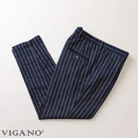 VIGANO ヴィガーノ ワンプリーツパンツ クロップドパンツ コットン&リネン ブルー ストライプ 7017-868