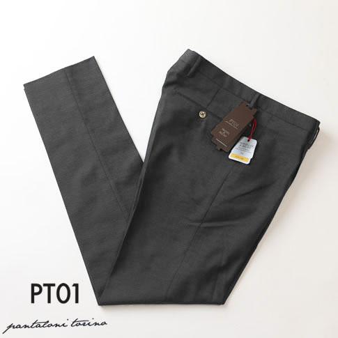 PT01 ピーティーゼロウーノ TRAVELLLER & RELAX EASY CAREトラベラー PREPPY FIT プレッピーフィット ピンドット ワンプリーツパンツ コットン ウール テーパードパンツ グレー cohsch-po51-0260