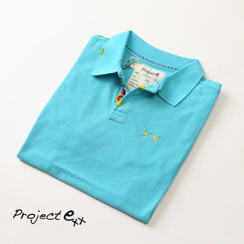 プロジェクトe Project e 鹿の子 ポロシャツ 半袖 スペシャル加工 ビーズ&刺繍 ポロ SLIM FIT ターコイズ mpg-tuequoise