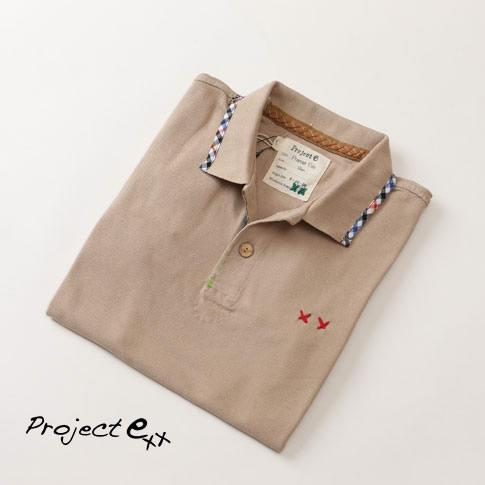 Project e プロジェクトe ポロシャツ 半袖 コットン 無地 刺繍 チェックステッチ ベージュ msg-nut