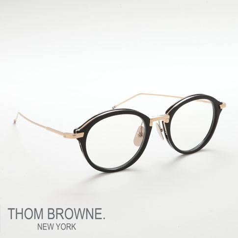 【全品送料無料】トムブラウン メガネ THOM BROWNE. NEW YORK EYEWEAR(トムブラウン ニューヨーク)トムブラウン 眼鏡 [TB-011A 46size BLACK SHINY 12K GOLD BRIDGE&TEMPLES] TB-011-A-BLK-GLD-46