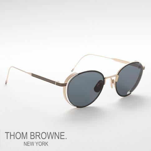 トムブラウン メガネ THOM BROWNE トムブラウン サングラス black enamel 12k gold w/dark grey EYEWEAR tb-106-a