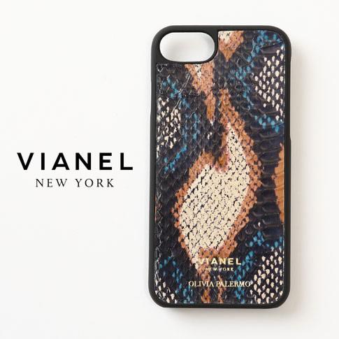 VIANEL NEW YORK ヴィアネル OLIVIA PALERMO コラボモデル IPHONE CASE アイフォンケース SNAKE TEAL WITH CAMEL キャメル ブルー マルチカラー 蛇革 レザー iPhone7 iPhone8 vianel-op-iphone01
