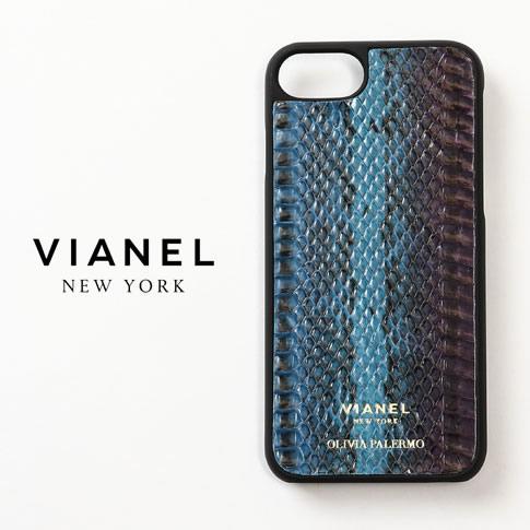 VIANEL NEW YORK ヴィアネル OLIVIA PALERMO コラボモデル IPHONE CASE アイフォンケース SNAKE TEAL WITH PURPLE パープル ブルー ブラック 蛇革 レザー iPhone7 iPhone8 vianel-op-iphone07