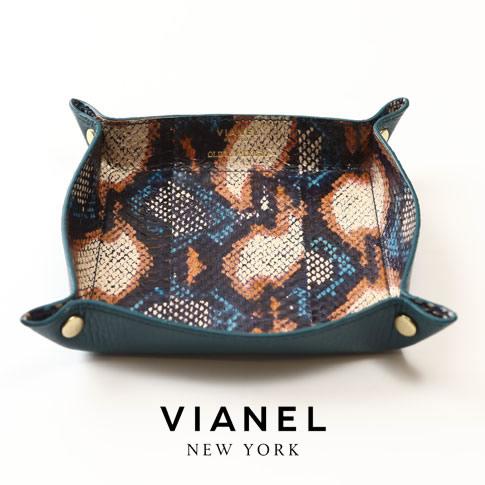 VIANEL NEW YORK ヴィアネル OLIVIA PALERMO コラボモデル LEATHER TRAY レザートレイ SNAKE TEAL WITH CAMEL キャメル ブルー マルチカラー 蛇革 vianel-op-tray01