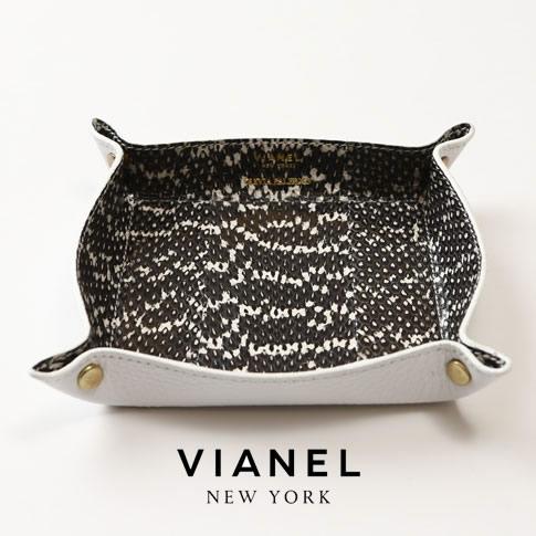 VIANEL NEW YORK ヴィアネル OLIVIA PALERMO コラボモデル LEATHER TRAY レザートレイ SNAKE BLACK WITH WHITE ブラック ホワイト 蛇革 vianel-op-tray02