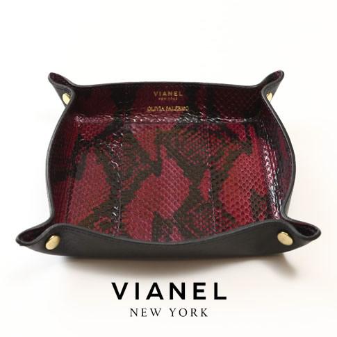 VIANEL NEW YORK ヴィアネル OLIVIA PALERMO コラボモデル LEATHER TRAY レザートレイ SNAKE WINE WITH BLACK ワインレッド ブラック 蛇革 vianel-op-tray03