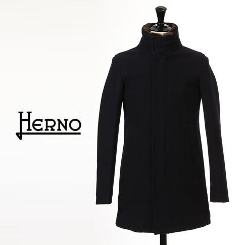 【2020半期決算セール】HERNO / ヘルノ メンズ ダウン ヘルノテック 中綿入り ウール スタンドカラー ファー付 ダウンコート ネイビー CA0071U 9290
