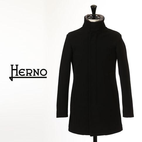 【2020半期決算セール】HERNO / ヘルノ メンズ ダウン ヘルノテック 中綿入り ウール スタンドカラー ファー付 ダウンコート ブラック CA0071U 9300
