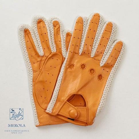 【限定品】メローラ / MEROLA GLOVES【メローラ 手袋】 ラムナッパ x コットンニット編み ドライビンググローブ ハンドメイド手袋 別注モデル マンダリンオレンジ me929008-31