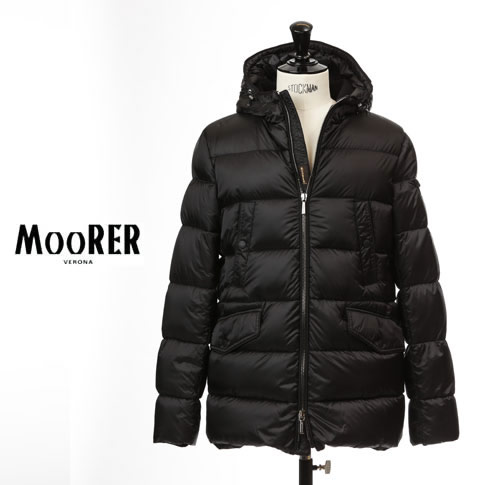 【2020半期決算セール】MOORER / ムーレー ダウンジャケット メンズ N-3B型 フード付き ダウンコート GERACI-SH NERO(ブラック)