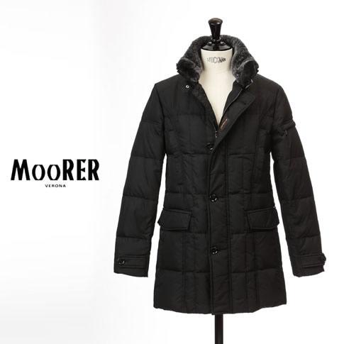 MOORER / ムーレー メンズ シングルブレスト セミロングダウンジャケット VALENTE-KM2 ヴァレンテ NERO / ブラック mo-valente-km2-nero