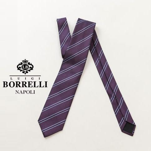 Luigi Borrelli ルイジ ボレッリ ネクタイ ジャガード レジメンタル ストライプ パープル シルク100% nr85-t8796-3