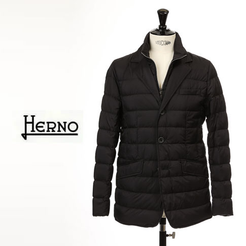 【2020半期決算セール】HERNO / ヘルノ メンズ シングル ダウンジャケット 撥水ナイロン ストレッチ 2WAY ブラック LEGEND la Giacca PI001ULE 19288 9300