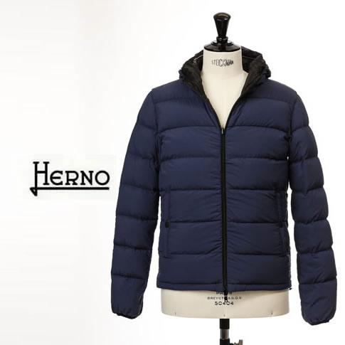 【2020半期決算セール】HERNO / ヘルノ メンズ HERNO 7DENIR パッカブル フード付 リバーシブル ダウンジャケット ネイビーxブラック ウェーブ ボンバー 7DEN PI0601U 12263 9220