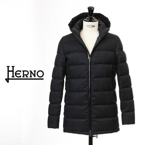 【2020半期決算セール】HERNO / ヘルノ メンズ ダウン Laminar(ラミナー)テクニカルフランネル フーテッド ダウンコート ラミナー ゴアテックス ネイビー pi102ul-9201