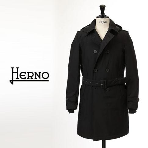 【2020半期決算セール】HERNO / ヘルノ メンズ ダウン Laminar(ラミナー)ダブルトレンチコート フーテッド ダウンコート ラミナー ゴアテックス ブラック PI113UL 9300