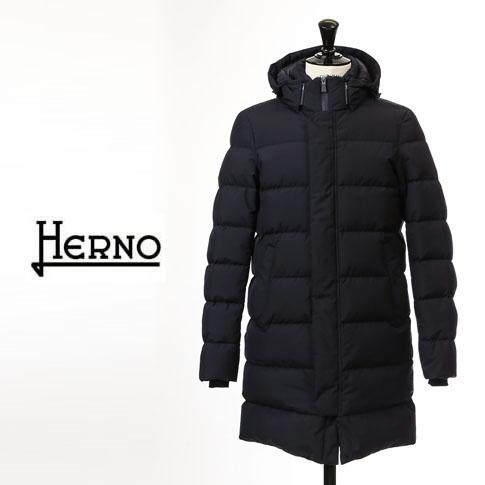 【2020半期決算セール】HERNO / ヘルノ メンズ ダウン Laminar(ラミナー)ロング丈 フーテッド ダウンコート ラミナー ゴアテックス ネイビー PI129UL 9201