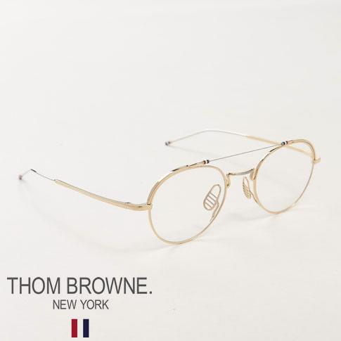 【全品送料無料】トムブラウン メガネ THOM BROWNE. NEW YORK EYEWEAR ツーブリッジ メタルフレーム メガネ TBX912 49size 01 GLD-SLV