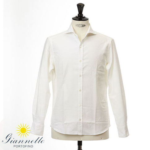 GIANNETTO / ジャンネット シャツ メンズ ホリゾンタルカラーシャツ フランネルシャツ ホワイト vinch-92500-1