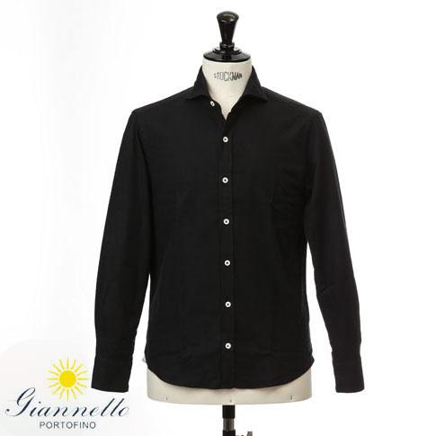 【2020半期決算セール】GIANNETTO / ジャンネット シャツ メンズ ホリゾンタルカラーシャツ フランネルシャツ ブラック vinch-92502-7