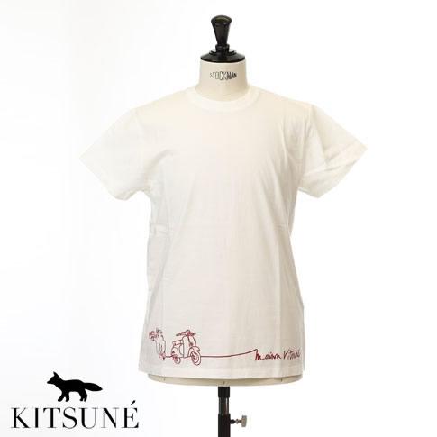 【全品送料無料】MAISON KITSUNE メゾンキツネ 半袖 Tシャツ ヴェスパ プリントTシャツ ECRU オフホワイト 0106kj-0010-ecru