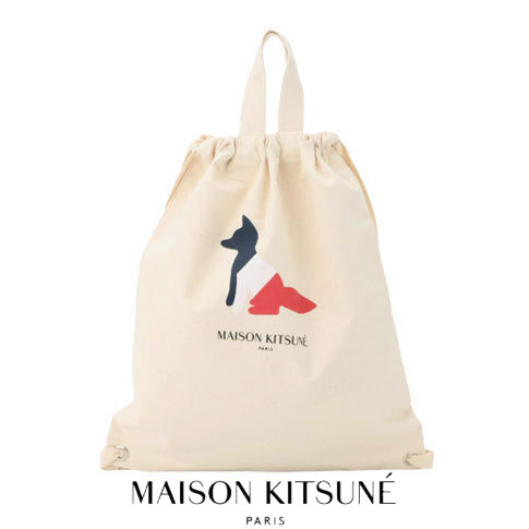【WINTER SALE】MAISON KITSUNE メゾンキツネ TOTE BACKPACK RESTING FOX トートバッグ&バックパック トリコロールFOX CANVAS BACKPACK 5102ww-0008-ecru