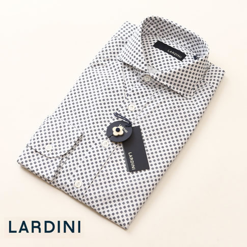 ラルディーニ LARDINI ラルディーニ シャツ コットンシャツ フラワープリントシャツ ホワイトxネイビー EGCIRO EGC1035 105