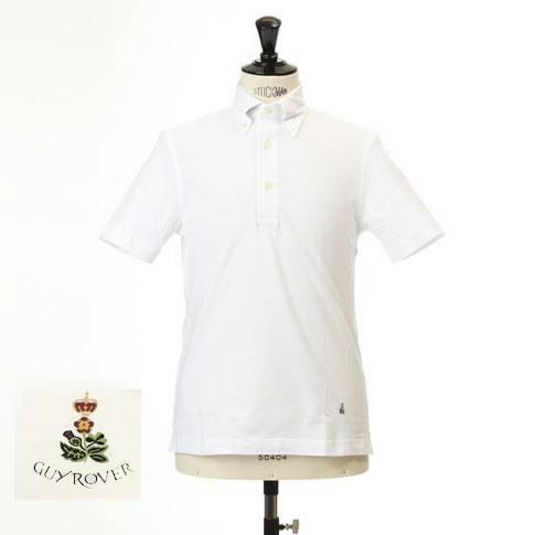 Guy Rover ギローバー 鹿の子 ポロ ボタンダウン 半袖ポロシャツ 台衿付き ホワイト pc224-591500-01