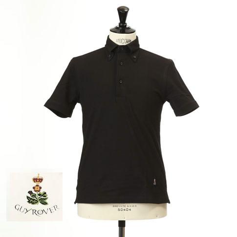 Guy Rover ギローバー 鹿の子 ポロ ボタンダウン 半袖ポロシャツ 台衿付き ブラック pc224-591500-06