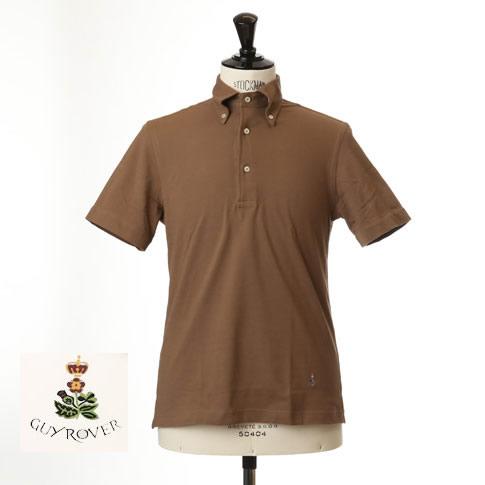 Guy Rover ギローバー 鹿の子 ポロ ボタンダウン 半袖ポロシャツ 台衿付き ブラウン pc224-591500-16