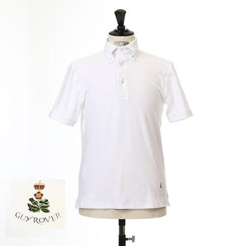 Guy Rover ギローバー パイル地 ポロ ボタンダウン 半袖ポロシャツ 台衿付き ホワイト pc224-591501-01