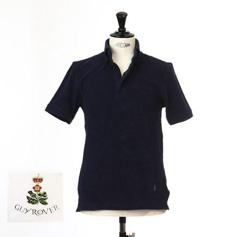 Guy Rover ギローバー パイル地 ポロ ボタンダウン 半袖ポロシャツ 台衿付き ネイビー pc224-591501-05