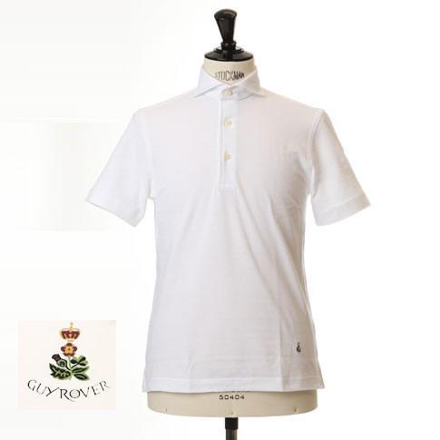 Guy Rover ギローバー 鹿の子ポロ カッタウェイ 半袖ポロシャツ 台衿付き カッタウェイ ホリゾンタルワイドカラー ホワイト pc234-591500-01