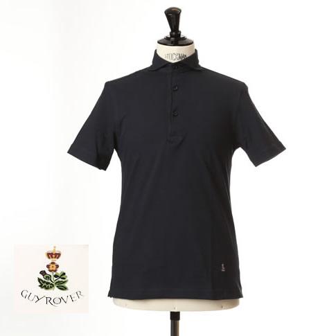 Guy Rover ギローバー 鹿の子ポロ カッタウェイ 半袖ポロシャツ 台衿付き カッタウェイ ホリゾンタルワイドカラー ネイビー pc234-591500-04
