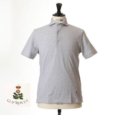 Guy Rover ギローバー 鹿の子ポロ カッタウェイ 半袖ポロシャツ 台衿付き カッタウェイ ホリゾンタルワイドカラー グレー pc234-591500-05