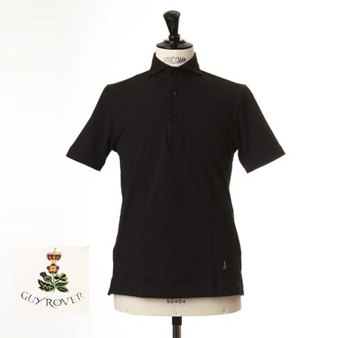 Guy Rover ギローバー 鹿の子ポロ カッタウェイ 半袖ポロシャツ 台衿付き カッタウェイ ホリゾンタルワイドカラー ブラック pc234-591500-06