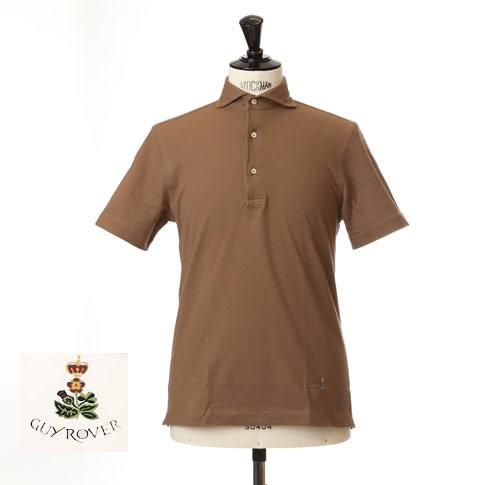 Guy Rover ギローバー 鹿の子ポロ カッタウェイ 半袖ポロシャツ 台衿付き カッタウェイ ホリゾンタルワイドカラー ブラウン pc234-591500-16