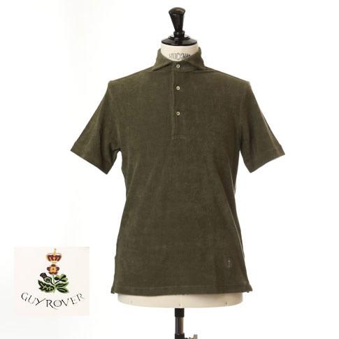 Guy Rover / ギローバー パイル地ポロ カッタウェイ 半袖ポロシャツ 台衿付き ホリゾンタルワイドカラー pc234-591501-04 カーキ