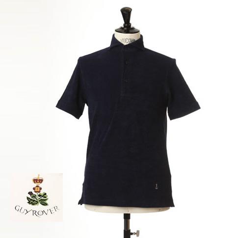Guy Rover / ギローバー パイル地ポロ カッタウェイ 半袖ポロシャツ 台衿付き ホリゾンタルワイドカラー pc234-591501-05 ネイビー